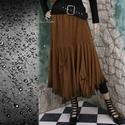 BAMBI - puha velúr design-szoknya, Ruha, divat, cipő, Női ruha, Szoknya, Lágyan omló ŐZ-BARNA színű szarvasbőr-imitációból készítettem ezt a lépcsős, sallangos szoknyát.  Ké..., Meska