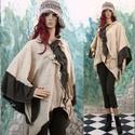 MOKKA - kabátka  - iparművész lagenlook ruha, Ruha, divat, cipő, Női ruha, Poncsó, Kabát, EXTRAVAGÁNS NŐKNEK!  Kétféle gyapjúszövetből készült kimonó-ujjú poncsó-kabátka rendhagyó kapocs-zár..., Meska