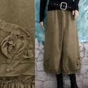 MÓNIKA - flanel-nadrág - kézműves lagenlook ruha, Ruha, divat, cipő, Női ruha, Nadrág, Romantikus modellem téli változatát  keki színre kézzel festett puha, bolyhos pamut-vászonból készít..., Meska