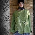 ZÖLDALMA - lagenlook kabátka XXL , Ruha, divat, cipő, Képzőművészet, Női ruha, Textil, TAVASZRA - extravagáns Nőknek:  Vastag, rusztikus mintázatú designer-gyapjúszövetből készítettem ezt..., Meska