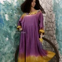 CAMILE - babydoll-ruha, Ruha, divat, cipő, Kismamaruha, Női ruha, Ruha, Puha, bolyhozott pamutszövetből terveztem ezt a bohém modellemet, kézzel festettem püspöklila-okkers..., Meska