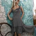 LENÓRA - lenruha XL - lolita-style fashion design, Ruha, divat, cipő, Női ruha, Ruha, Nőies, bohém, szabott ruha rusztikus pepita lenszövetből. Rátett zsebbel, alján aszimmetrikus fodorr..., Meska