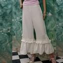 SZIRÉN-nadrág XL, Ruha, divat, cipő, Női ruha, Nadrág, Varrás, Dupla-fodros aljú hosszúnadrág tört-fehér színű,  jacquard szövésű lenszövetből. Csípőre szabott, o..., Meska