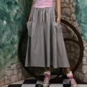 ROZI - lagenlook szoknya, Ruha, divat, cipő, Női ruha, Szoknya, Nagyvonalú, részekből szabott, apró-kockás nehéz lenszövetből készült szoknya óriási zsebekkel, kény..., Meska