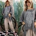 LARA - lagenlok tunika , Ruha, divat, cipő, Női ruha, Blúz, Vastag, bordás pamutgézemből készült T-ujjú tunika, elején vintage horgolásból készült rátéttel. PAL..., Meska
