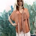 VALENTINA - art to wear tunika , Ruha, divat, cipő, Női ruha, Blúz, Felsőrész, póló, Artisztikus kreppselyem-blúz kézzel festve, finom csipkékkel, gyöngyözéssel dekorálva. Gyönyörű, mat..., Meska