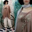 GIGI - lagenlook tunika , Ruha, divat, cipő, Női ruha, Felsőrész, póló, Blúz, Középvastag rusztikus gézemből tervezett bő-vonalú lagenlook tunikám antik-barnára festett változata..., Meska