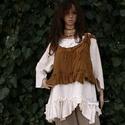 MUSTÁR selyem-mellényke , Ruha, divat, cipő, Női ruha, Blúz, Varrás, Pliszésen gyűrt viszkóz-selyemből készült modellem a réteges öltözködéshez terveztem.  Egyedi darab..., Meska