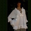 MIA - lagenlook blúz, Ruha, divat, cipő, Női ruha, Blúz, Könnyű pamutvásznamból terveztem ezt az üde, romantikus darabot.  Fodros-lockolt szélek, masnival ös..., Meska