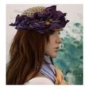 BOHÉM tokkalap, Ruha, divat, cipő, Női ruha, Kendő, sál, sapka, kesztyű, Sapka, Extravagáns, natúr spárgából horgolt fejfedő lila színű selyem virág-dekorációval. Bohém ruhatárad s..., Meska
