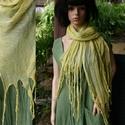 PIXY - nimfa-stóla - géz sál / banánzöld, Dekoratív, óriási méretű, rojtosra szabdalt-v...