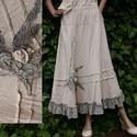 RÉKA szoknya  - artsy lagenlook fashion design, Ruha, divat, cipő, Képzőművészet, Női ruha, Textil, Romantikus Nőknek:  Rusztikus nyers lenvászonból készült fodros-aljú hosszú-szoknya egyedi, kézzel-f..., Meska