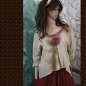 GABY - lagenlook blúz, Ruha, divat, cipő, Női ruha, Blúz, Felsőrész, póló, Festett tárgyak, Varrás, Könnyű pamutvászonból készült, T-ujjú, felkerekített-elejű, kézzel festett, rózsa-applikációs darab..., Meska
