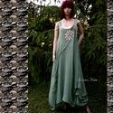 KIM - lagenlook kötényruha, Ruha, divat, cipő, Képzőművészet, Női ruha, Textil, Kedvelt modellem most új variációban: vintage horgolással, közép-méretre készült. Kézzel festettem f..., Meska