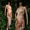 RANDI-ruha, Ruha, divat, cipő, Női ruha, Ruha, Varrás, Batik-mintás lehelet-könnyű elasztikus jerseyből terveztem ezt a mélyen dekoltált modellem. Könnyed..., Meska