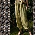 BROKÁT - lagenlook nadrág, Ruha, divat, cipő, Női ruha, Nadrág, Festett tárgyak, Varrás, Puha, brokátmintás jacquard szövetből készítettem ezt a szellős, bokán csomóra köthető harang-nadrá..., Meska