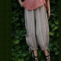 DADY-NACI - vintage style - lagenlook fashion design , Ruha, divat, cipő, Női ruha, Nadrág, Kedvelt, boka-zsebes nadrágfazonom középvastag,csíkos 100% puhított lenvászonból készült változata. ..., Meska