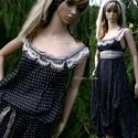 PILLERUHA  -  lolita-style fashion design, Ruha, divat, cipő, Női ruha, Kismamaruha, Ruha, Varrás, Libbenős pöttyös, és szürke acetátselyem-ruha. Az egyszerű A-vonalat felcsípések formázzák. A váll-..., Meska