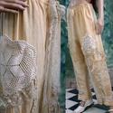 LIZY-NACI - art to wear nadrág, Ruha, divat, cipő, Képzőművészet, Női ruha, Textil, ÚJDONSÁG a romantikus lagenlook szerelmeseinek: Csíkosan-szőtt vászon-nadrág bohém horgolás- csipke-..., Meska
