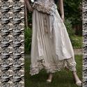 LENKE szoknya -vintage lagenlook fashion design, Ruha, divat, cipő, Képzőművészet, Női ruha, Textil, Extravagáns hosszú vászon-szoknya.  Földig érő,dúsan redőzött, több-soros fodorral az alján.  Belső ..., Meska
