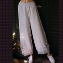 MÓNIKA - design-nadrág, Ruha, divat, cipő, Női ruha, Nadrág, Ruha, Romantikus-lagenlook modellem rusztikusan- erezett szövésű EZÜST-SZÜRKE pamut-vászonból készítettem...., Meska