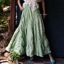 CSENGE - hosszú-szoknya, Ruha, divat, cipő, Női ruha, Szoknya, ÚJDONSÁG romantikusoknak!  Különleges, csíkokban kreppes lenvászonból terveztem ezt a hosszú, harang..., Meska