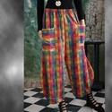 TULIPÁN - lagenlook sikk, Ruha, divat, cipő, Női ruha, Nadrág, Varrás, Multi-kockás középvastag vászonból terveztem ezt a látványos modellem. Kényelmes nagy zsebekkel, al..., Meska