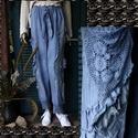 LIZY-NACI - art to wear design nadrág, Ruha, divat, cipő, Képzőművészet, Női ruha, Textil, ÚJDONSÁG a romantikus lagenlook szerelmeseinek: Csíkosan-szőtt vászon-nadrág bohém horgolás- csipke-..., Meska