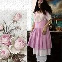 BABETTE - lagenlook kötényruha, Ruha, divat, cipő, Képzőművészet, Női ruha, Textil, Hímzett pamutvászonból készítettem és málna-színre festettem ezt a kedveskötényruhát.  Mérete M. Egy..., Meska