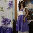"""LILLA - baby-doll - Fashion Design, Ruha, divat, cipő, Képzőművészet, Női ruha, Textil, Romantikus, egyedi ruhácska nyomott-mintás krepp-pamutból és ibolya-lila puplinból""""megálmodva"""". Mére..., Meska"""