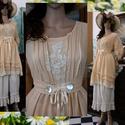 """DAISY - """"baba""""ruha - Lagenlook Fashion Design, Ruha, divat, cipő, Képzőművészet, Női ruha, Textil, Modern-romantikus kézzel festett pamutvászon ruhám a légies-báj kedvelőinek!  Angyali ruhácska vékon..., Meska"""