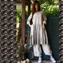 EMILY - design-ruha , Ruha, divat, cipő, Női ruha, Ruha, Nadrág, Klasszikus szabású lenvászon ruha halványszürkére átmenetesen festve. A gloknis szoknyarész oldala b..., Meska
