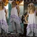 ANETT - kötényruha  - lagenlook fashion design, Ruha, divat, cipő, Női ruha, Ruha, Nadrág, Ez a nőies, dúsan fodros-aljú fazon kényelmes és minden méretre csinos.  Évszaktól függően a réteges..., Meska