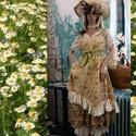 MICHELLE - vászonruha - Lolita style fashion design, Ruha, divat, cipő, Képzőművészet, Női ruha, Textil, Romantikus rózsácskás pamutvászonból készítettem ezt a nőies modellemet. A vállpántja és csokorra kö..., Meska