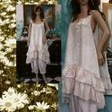 CSILLA - kétrészes ruha - lagenlook fashion design, Ruha, divat, cipő, Képzőművészet, Női ruha, Textil, Finom csipke-mintás, könnyű pamutvászonból terveztem ezt a kényelmes és mutatós - csipke-vállpántos,..., Meska