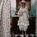 MICHELLE  öltözet - vintage lolita style fashion design, Ruha, divat, cipő, Képzőművészet, Női ruha, Textil, Romantikus megjelenés lagenlook stílusban:  RUHA:  apró-mintás pamutvászonból készítettem ezt a nőie..., Meska
