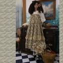 ROMY - szoknya-ruha - romantic lagenlook design, Ruha, divat, cipő, Képzőművészet, Női ruha, Textil, Ez a romantikus rózsás-fodros hosszú-szoknya ruhaként is hordható a rágombolható pánt biztonságával...., Meska