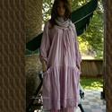 IBI - flapper-ruha XXL - lagenlook fashion design, Ruha, divat, cipő, Képzőművészet, Női ruha, Textil, Új modellem a réteges öltözködés kedvelőinek:  Finom pasztell-lilára kézzel festett, könnyű, nyers p..., Meska