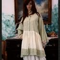 BABE - ing-kabátka XXL  - Lagenlook Fashion Design, Ruha, divat, cipő, Képzőművészet, Női ruha, Textil, Könnyű, kézzel festett vászon-kabátka nyers- jade szín-kombinációban, finom csipkével, baby-doll stí..., Meska
