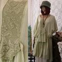 TINA - flapper-ruha XXL -  lagenlook fashion design, Ruha, divat, cipő, Képzőművészet, Női ruha, Textil, Varrás, Festett tárgyak, Ezt a  '20-as évek stílusában tervezett, jade-színre kézzel festett, nyers pamutvászonból készült m..., Meska