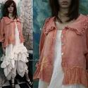 VILMA - lagenlook kabátka , Ruha, divat, cipő, Képzőművészet, Női ruha, Textil, Rusztikus, lazac-színre kézzel festett gézemből terveztem ezt a kedvelt. romantikus ing-kabátkám. El..., Meska