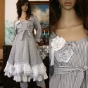 MIGNON ruha / szürkék - lagenlook lolita  fashion design, Ruha, divat, cipő, Képzőművészet, Női ruha, Textil, Bájos princessz-szabású ruháim mintás pamut-kartonokból készülnek. Jellemzőik: ívelt, fodros alja-vé..., Meska
