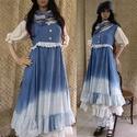 PATRICIA XL  - romantikus design-ruha - lagenlook styl, Ruha, divat, cipő, Női ruha, Ruha, Mell alatt vágott ujjatlan lenvászon ruha,  kézzel festett színezéssel, fodrokkal, hamis gombolással..., Meska