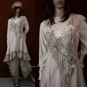 TAMARA - kötényruha XL  - artsy lagenlook fashion design, Képzőművészet, Ruha, divat, cipő, Textil, Női ruha, Bolyhos-felületű pamutvászonból (barchend) tervezett, hátulra hosszabbodó, princessz-szabású pántos ..., Meska