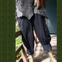 KÉKFESTŐ nadrág - lagenlook fashion design, Ruha, divat, cipő, Női ruha, Nadrág, Tolnai vintage- indigó-kékfestő anyagok kombinációjával készítettem ezt az extravagáns,  rátett-zseb..., Meska