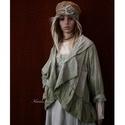 LAURA - lagenlook kabátka XXL , Ruha, divat, cipő, Képzőművészet, Női ruha, Textil, Új-vonalú kiskabátom réteges öltözködéshez:  Bolyhos felületű, vastag pamutvászonból- (barchendből) ..., Meska