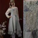 LAURA - kötényruha XL  - artsy lagenlook fashion design, Képzőművészet, Ruha, divat, cipő, Textil, Női ruha, Pamut-barchendből  tervezett, hátulra hosszabbodó, princessz-szabású pántos ruha.  Elejét textil -és..., Meska