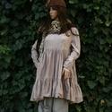 INGE - empír-ruha  - lagenlook fashion design, Ruha, divat, cipő, Női ruha, Ruha, ÚJ MODELL! Tejeskávé színre kézzel festett, puha, lágy pamutflanelből terveztem ezt a bájos, őszi-té..., Meska