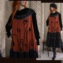 ROXI - lagenlook kötényruha XXL , Ruha, divat, cipő, Képzőművészet, Női ruha, Textil, Egy különleges darab a stílus szerelmeseinek!  Rozsdabarna   - szép esésű, puha, vintage pamutselyem..., Meska