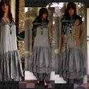 BERTA - flapper-ruha - lagenlook fashion design, Ruha, divat, cipő, Képzőművészet, Textil, Női ruha, Dupla-rétegű, gyűrt-selyem ruha a '20-as évek stílusában. Színe sötétszürke -  de más színben is elk..., Meska